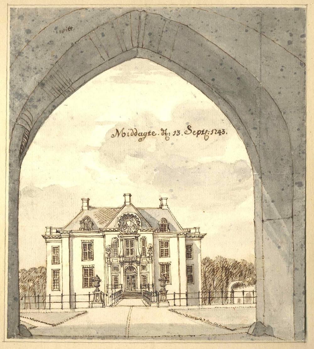 Kasteel Middachten in De Steeg. Tekening Jan de Beijer, 1743